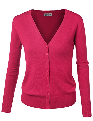 BIADANI Women Button Down Long Sleeve Soft V-Neck Cardigan Sweater Magenta Medium ()