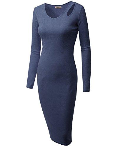 Doublju Womens Short Sleeve Back Front Rib HEATHERBLUE Dress,2XL
