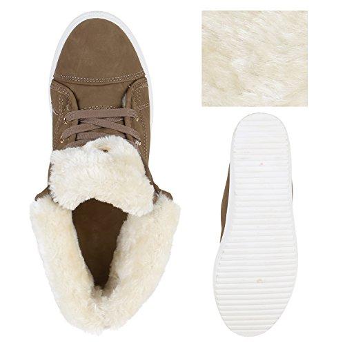 Stiefelparadies Damen Sneaker High Warm Gefütterte Schuhe Winter Sneakers Schnallen Umklappbarer Schaft Kunstfell Turnschuhe Flats Flandell Khaki