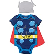 Marvel Avengers Thor Baby Boys' Costume Bodysuit With Cape and Hat Blue (3-6 Months)
