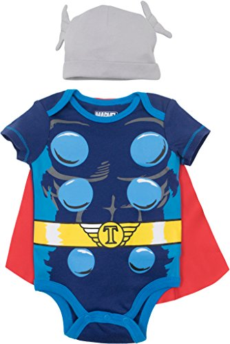 Marvel Avengers Thor Baby Boys Costume Bodysuit with Cape & Hat Blue (0-3 Months)
