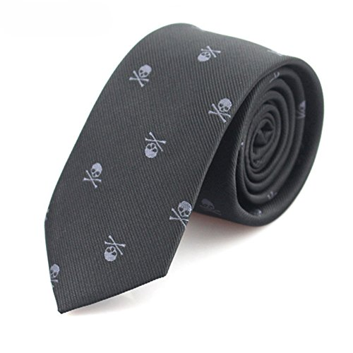 - eroute66 Novel Men's Necktie Skull Crossbones Slim Narrow Casual Party Suit Tie Gift - LD17706