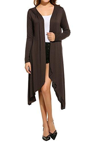 Meaneor Meaneor Women's Basic Long Sleeve Drape Open Long Maxi Cardigan Hoodie Dark Brown XXL