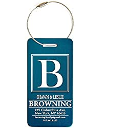 Personalized Luggage Tags Gifts with Engraved Design - Elegant and Durable Travel Suitcase Name Tags, Gift for Travelers Men and Women (4 Luggage Tags, Navy)