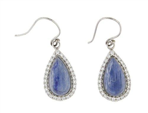 Sterling Silver Kyanite Pear Dangle Earrings & Gift Box