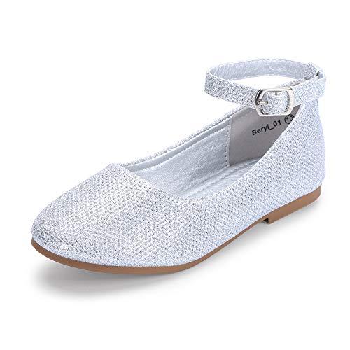- Hehainom Toddler/Little Kid Girl's Beryl_01 Mary Jane Ballet Dress Flats Ankle Strap School Uniform Shoes (Silver Glitter, 1 M US Little Kid)