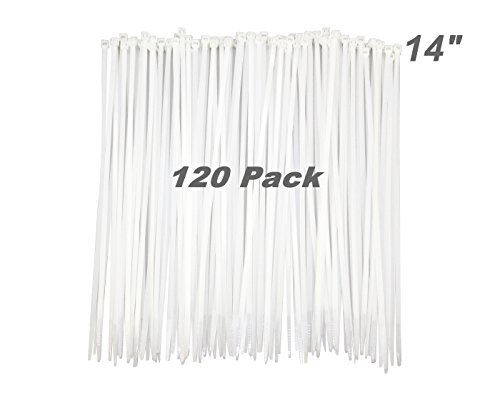 "HAODE FASHION 120 Pack Long 14 Inch White Clear Strong Cable Ties, Upgrade Industrial UV Resistant Durable Life Zip Ties, Heavy Duty Cable Management for Large Objects (14"", 50LB, White, Outdoor Use)"