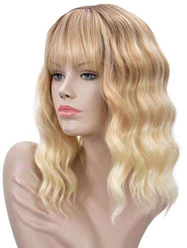 Goodly Ombre Blonde Short Wigs with Bangs for Women Natural Healthy Curly Wavy Blonde Wig Synthetic Daily Cosplay Wigs 14 Inch