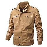 Ousui Casual Coat Soild Cotton Full Zip Windbreaker Outdoor Windproof Military Jacket for Men(Khaki02-M)