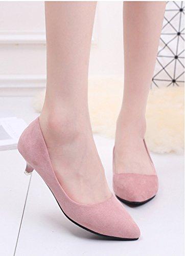 Minetom Estate Ballerine Heel Tacco Punta Casuale Scarpe Tacchetto Kitten A Donna Col Shoes Scamosciato Spillo Rosa FrHCwFq