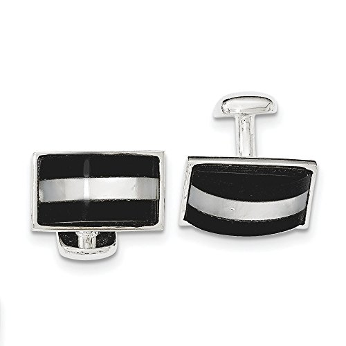 Sterling Silver Simulated Mother of Pearl and Simulated Onyx Cuff Links