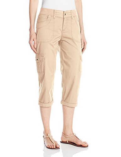 (Lee Women's Petite Relaxed Fit Austyn Knit Waist Capri Pant, Cafe, 14 Petite)