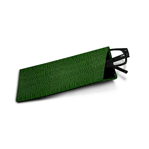 Lucrin - Slim Soft Leather Standard Size Glasses Case Sleeve Pouch - Light Green - Crocodile style calfskin