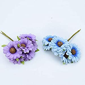 Tokyo Summer 6Pcs Silk Sunflower Bouquet Decorative Christmas Wreaths DIY Gifts Candy Box Fake Plants Artificial Daisy Flowers for Home Decor,Yellow 5