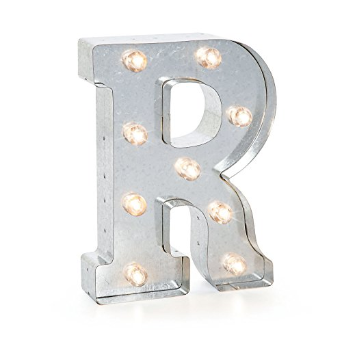 Industrial Style Light Up Letters: Darice Silver Metal Marquee Letter R