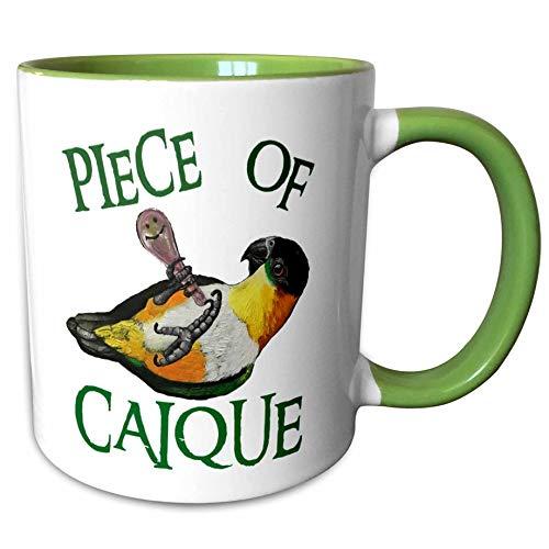 3dRose Skye Elizabeth Designs - Black Headed Caique with rattle - 15oz Mug (mug_308314_2) - 11-oz two-tone green mug