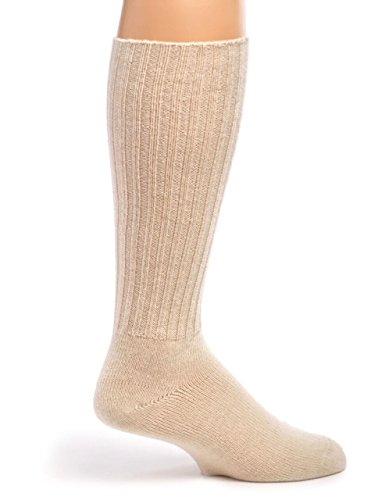 Warrior Alpaca Socks – Women's Ribbed Casual Everyday Alpaca Wool Crew Socks (Off White L)