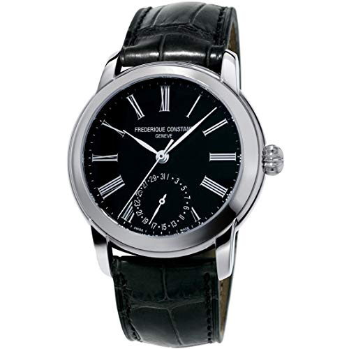 Frederique Constant Men's 'Classics Manufacture' Automatic Stainless Steel and Leather Casual Watch, Color:Black (Model: FC-710MB4H6)