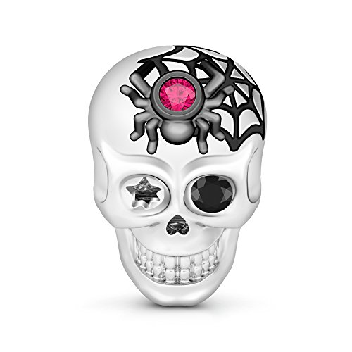 GNOCE Womens Skull Charm for Bracelets 925 Silver Charm Bracelets Charm for Women fit US European Bracelets Necklaces (Spider Web Skull)