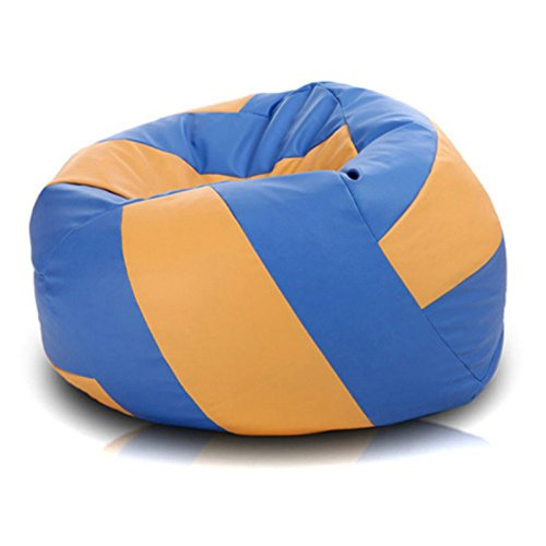 Awesome Volleyball Bean Bag Lounger with Luxurious Faux Leather Cover, Excellent Support for Any Body Position, Two-Tone Patterns, Perfect for Lounging and Relaxing, Sky/Gold + Expert Home - Chair Bag Bean Volleyball