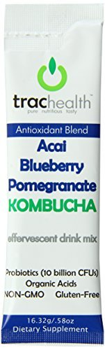 Trac Health Kombucha Effervescent Antioxidant Blend Drink Mix Packets, Acai Blueberry Pomegranate, 12 Count by Trachealth