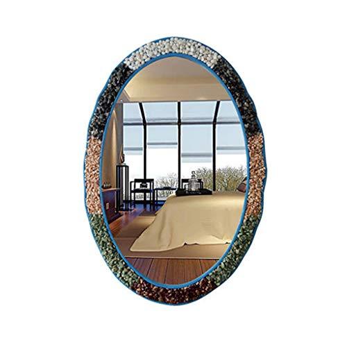 (Qivor Colored Stone Decorative Mirror Oval Bathroom Mirror Wall Mounted Beauty Mirror 4464cm (Color : E))
