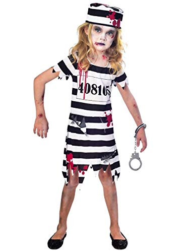 Girls White Black Bloody Zombie Prisoner Scary Convict Halloween Fancy Dress Costume Outfit 5-12 Years (11-12 Years) -