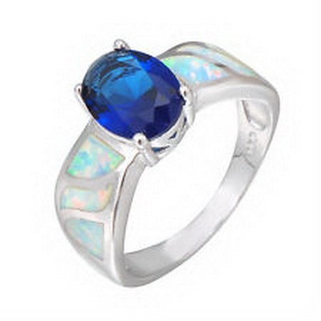jacob alex ring Roayblue Sapphire White Fire Opal Wedding Rings Womens 925 Sterling Silver #6 by jacob alex