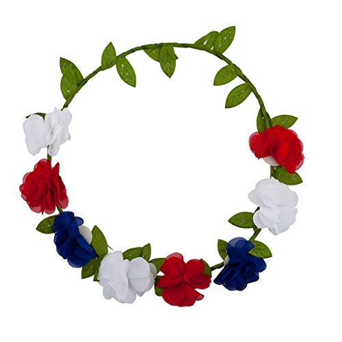 Lux Accessories America USA Americana 4th of July American Pride Flower Floral Garland Wreath Flower Crown