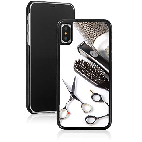 for Apple iPhone Hard Back Case Cover Scissors Comb Brush Hair Dresser (Black, for Apple iPhone Xs Max)