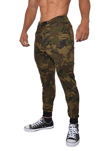 Camo Medium Mens Pants - YoungLA French Terry Cotton Sweatpants Jogger Pants Camouflage Green Medium