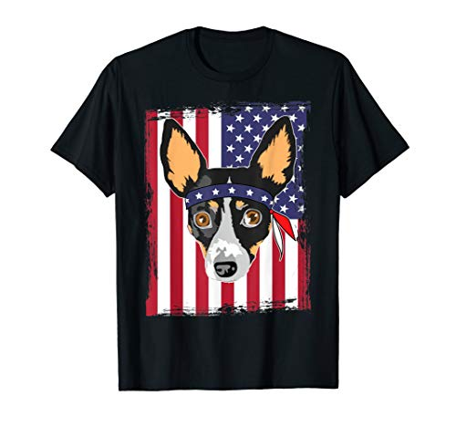 Rat Terrier Face & Vintage US Flag Happy 4th July Day Shirt