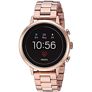 Fossil Womens Gen 4 Venture HR Heart Rate Watch with Stainless Steel Touchscreen Smartwatch Strap, Color: Rose Gold, 17 (Model: FTW6018)