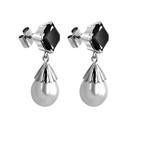Certified 3.15 Ct Princess Cut Black Diamond Solitaire with Pearl Silver Earrings by Gems River