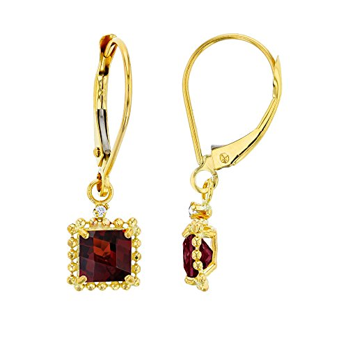 14K Yellow Gold 1.25mm Round Created White Sapphire & 5mm Square Garnet Bead Frame Drop Leverback -