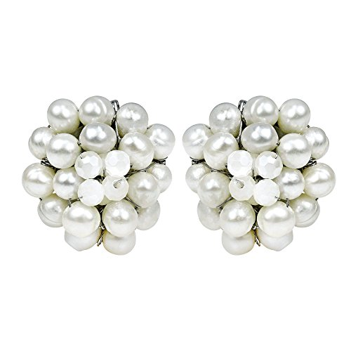 White Elegance Cultured Freshwater Pearl Chrysanthemum Clip On Earrings - Cherry Cultured Bracelets