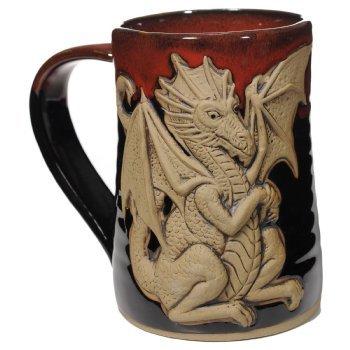 Fantasy Dragon Tankard in Red on Black