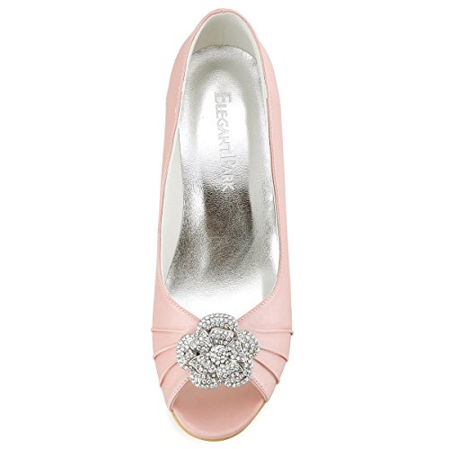 Elegantpark WP1547 Mujer Fiesta Cuña AF01 Desmontable Flores Rhinestone Zapatos Clips Satén Zapatos De Boda Rosa