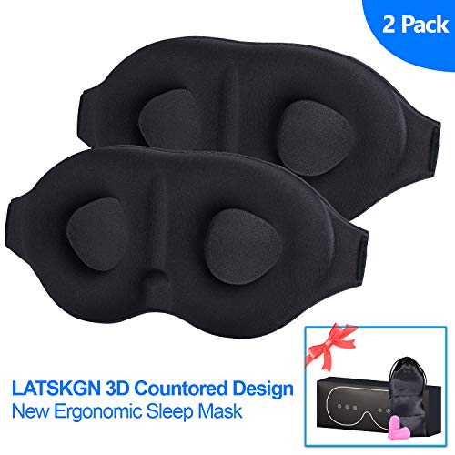 Sleep Eye Mask for Men Women 2pack, 3D Contoured Cup Sleeping Mask & Blindfold with Ear Plug Travel Pouch, Concave Molded Night Sleep Mask, Block Out Light, Soft Comfort Eye Shade Cover for Yoga Me