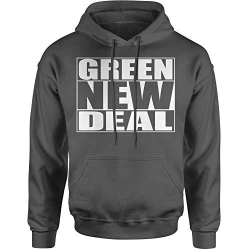 FerociTees Hoodie Green New Deal Ocasio Adult Medium Charcoal Grey ()