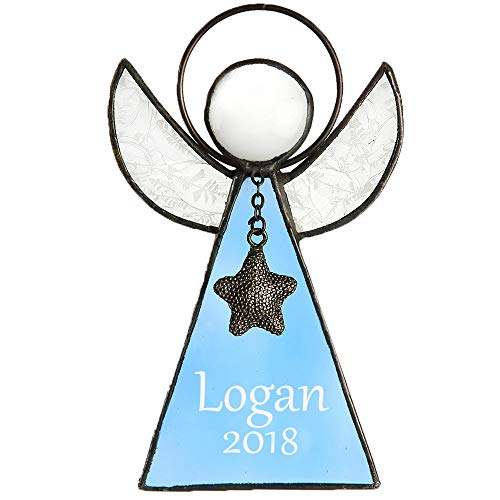 (J Devlin ORN 215-3 EO103 Personalized Blue Glass Angel Ornament or Window Sun Catcher Engraved Keepsake)