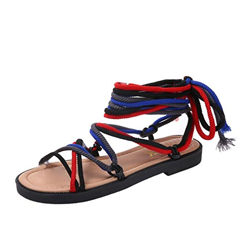 ls Cross-Tied Bandage Sandals Flat Ladies Shoes Sandalias Red 6 (Red Cross Nursing Shoes)