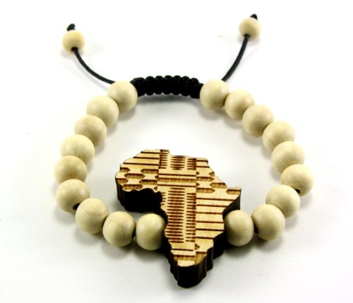 Wooden African Map Charm Bracelet w/ 10 mm Beads ALL GOOD WOOD STYLE! natural, macrame