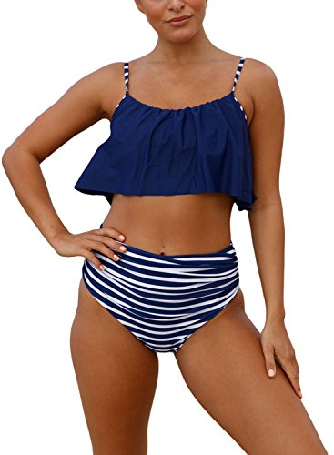 (Actloe Women's Strap Ruffle Bikini Top with High Waist Printed Bottom Two Pieces Swimsuit Bathing Suits Navy Blue Large)