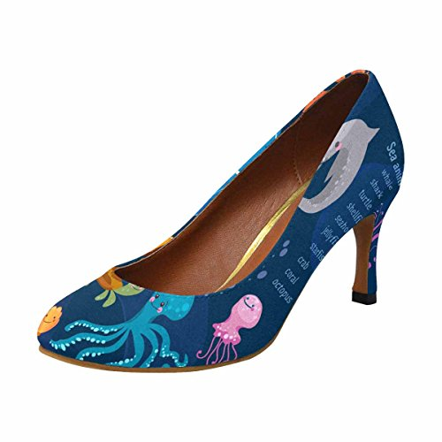 InterestPrint Womens Classic Fashion High Heel Dress Pump Sea Animalss Cute Collection Octopus, Fish, Whale
