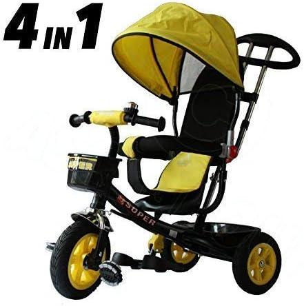All Road Trikes Niños 4 en 1 Trike - Negro y Amarillo Empujar Pedal Infantil Triciclo Homologación CE