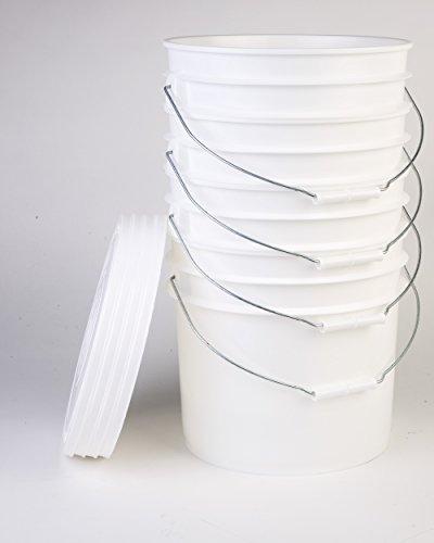 Hudson Exchange 2004+2212-4 Premium Bucket with Lid, 3.5 Gallon (4 Pack), White (Standard Plastic Bucket Lid)