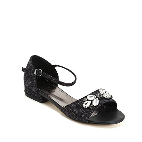 ALESYA by Scarpe&Scarpe - Sandalias bajas con piedras, con Tacones 3 cm Negro