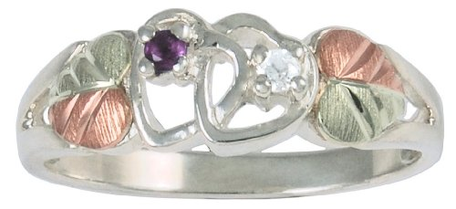 Amethyst and Diamond Double Hearts Ring, Sterling Silver, 12k Green and Rose Gold Black Hills Gold Motif, Size 5