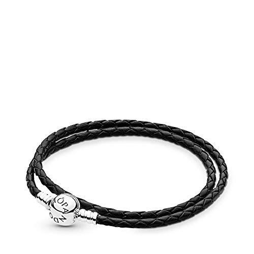 Pandora Black Braided Double-Leather Charm Bracelet, Sterling Silver, 16.2 in